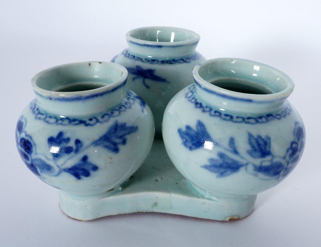 Unique Korean Porcelain Triple Jar Tray