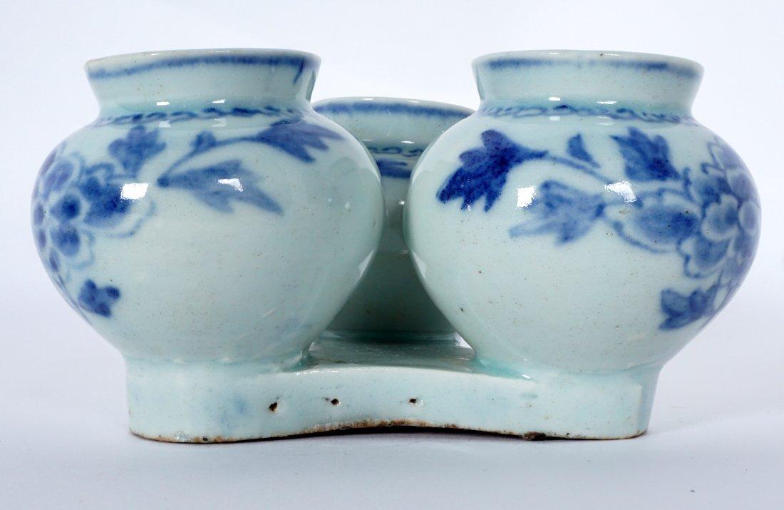 Unique Korean Porcelain Triple Jar Tray - 6