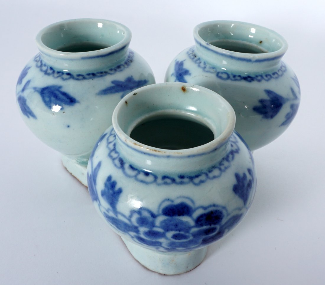 Unique Korean Porcelain Triple Jar Tray - 9