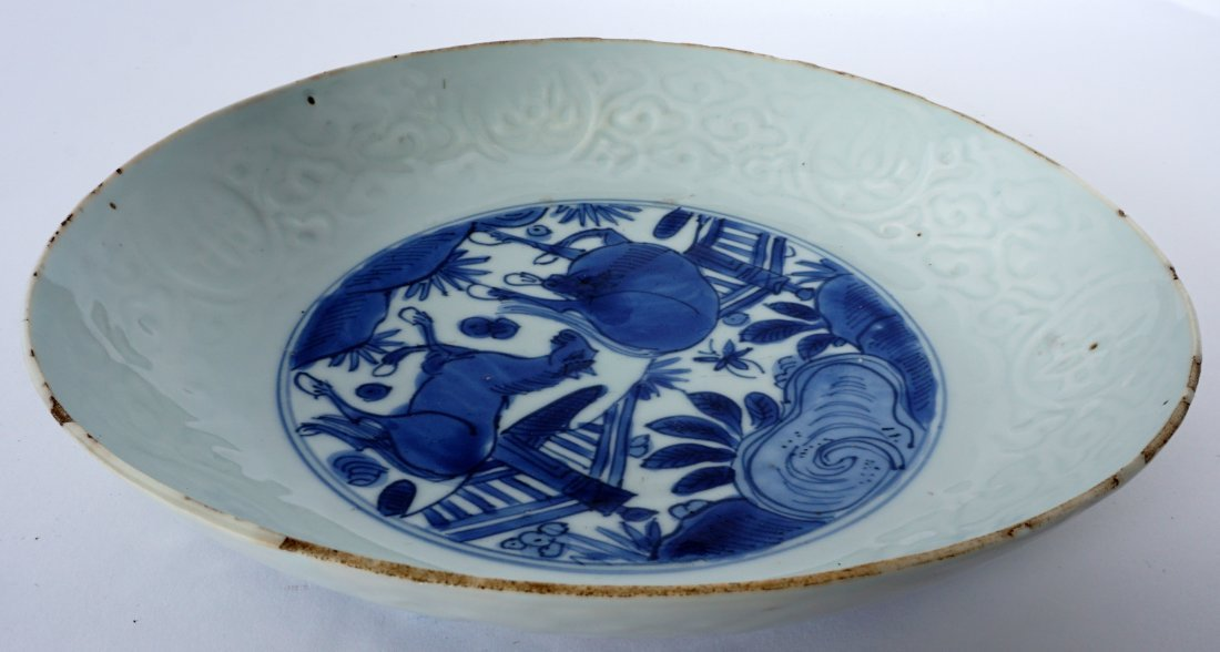 Ming Chinese Kraak Blue & White Low Bowl - 4