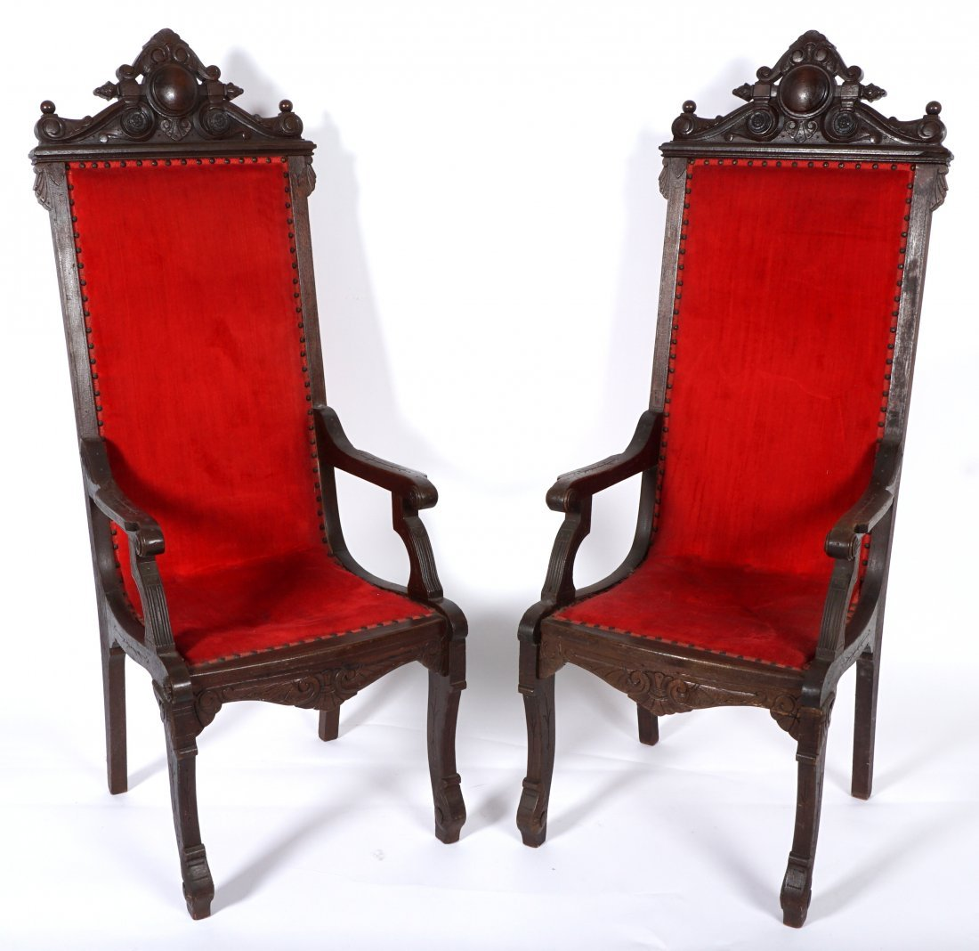 Pair English Oak Carved Throne Chairs