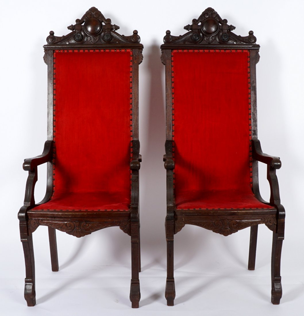 Pair English Oak Carved Throne Chairs - 2