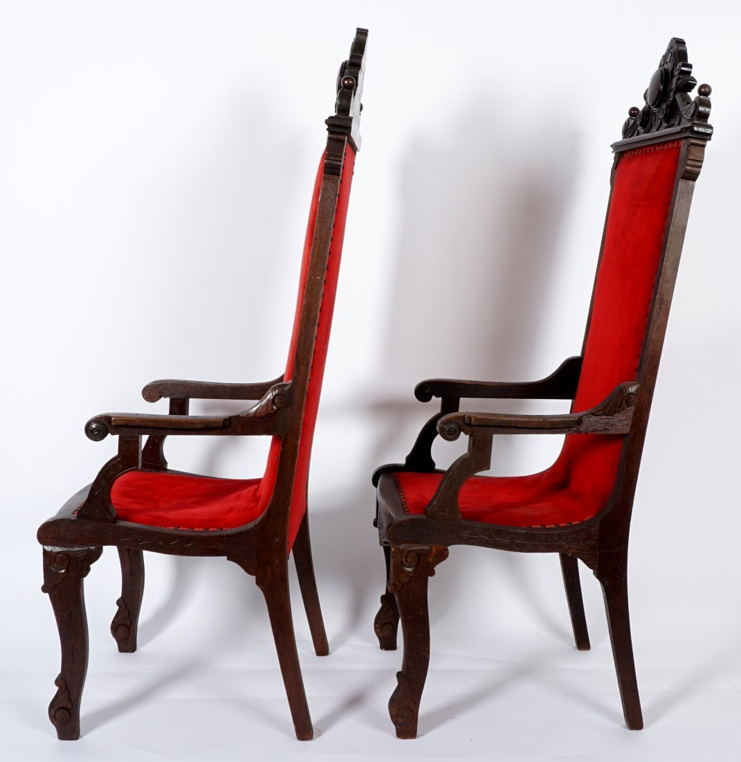 Pair English Oak Carved Throne Chairs - 3