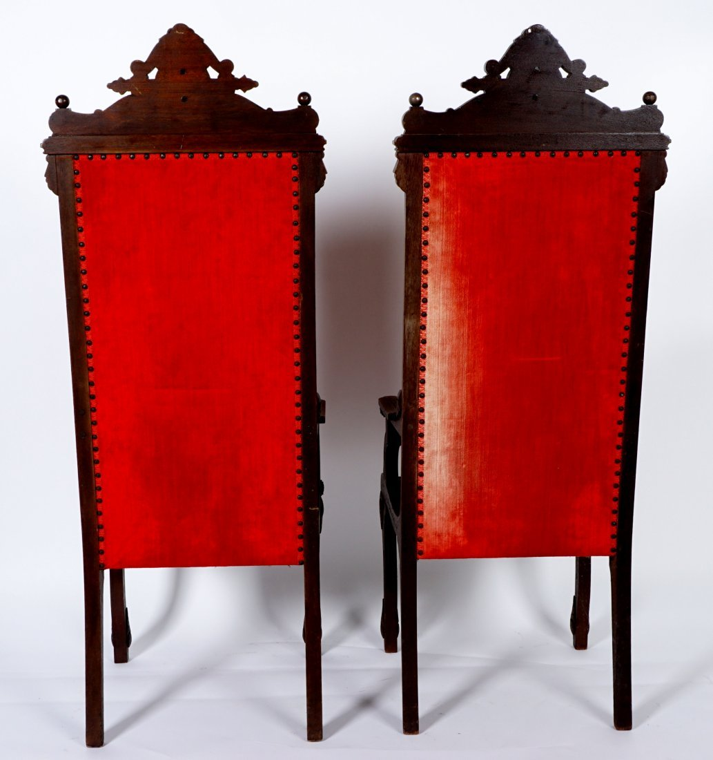Pair English Oak Carved Throne Chairs - 4