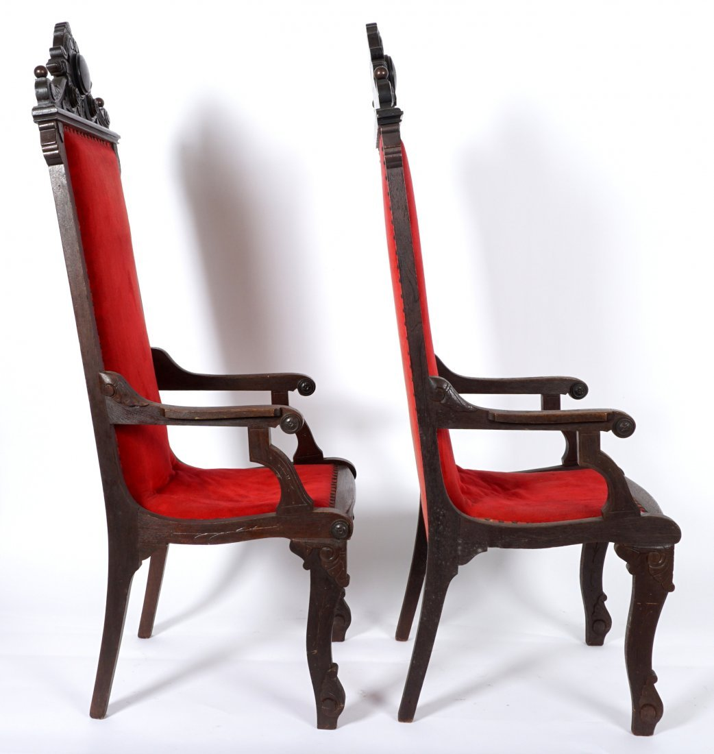 Pair English Oak Carved Throne Chairs - 5