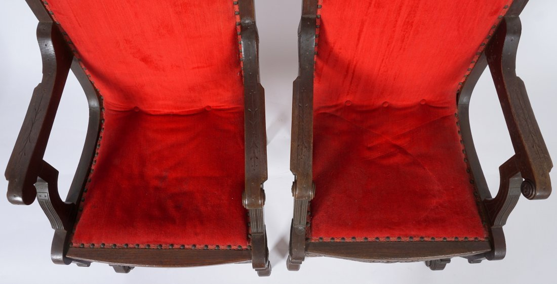 Pair English Oak Carved Throne Chairs - 6