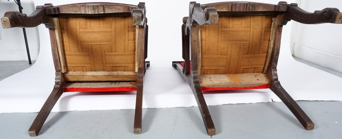 Pair English Oak Carved Throne Chairs - 8