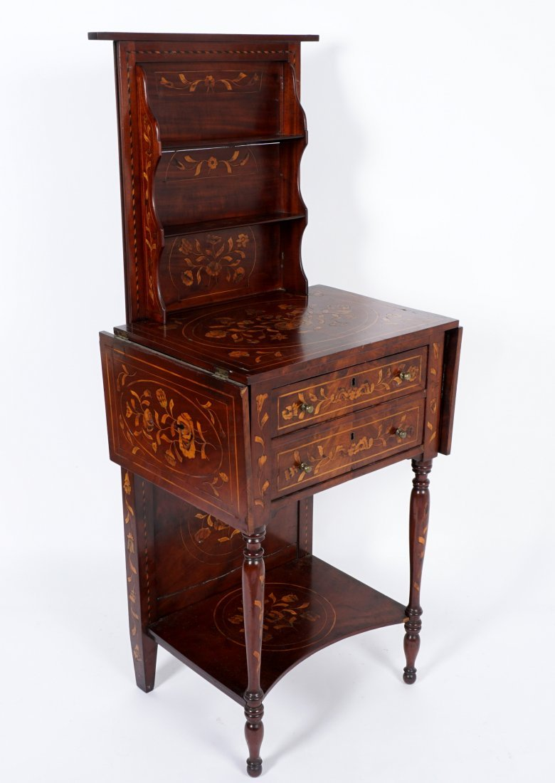 Continental Marquetry Inlaid Drop Leaf Table