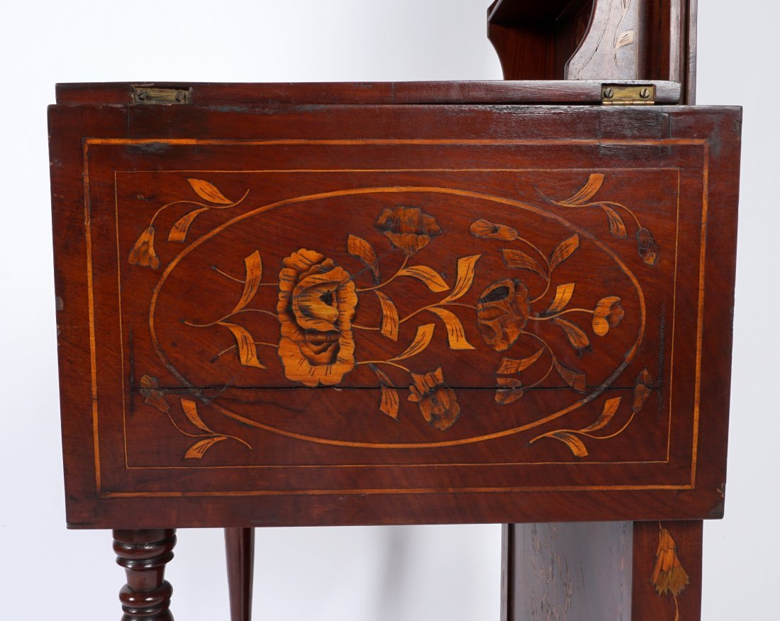 Continental Marquetry Inlaid Drop Leaf Table - 9