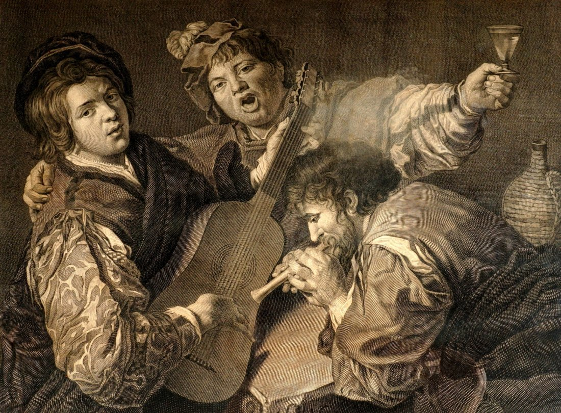 18th Century Caravaggio The Concert Engraving