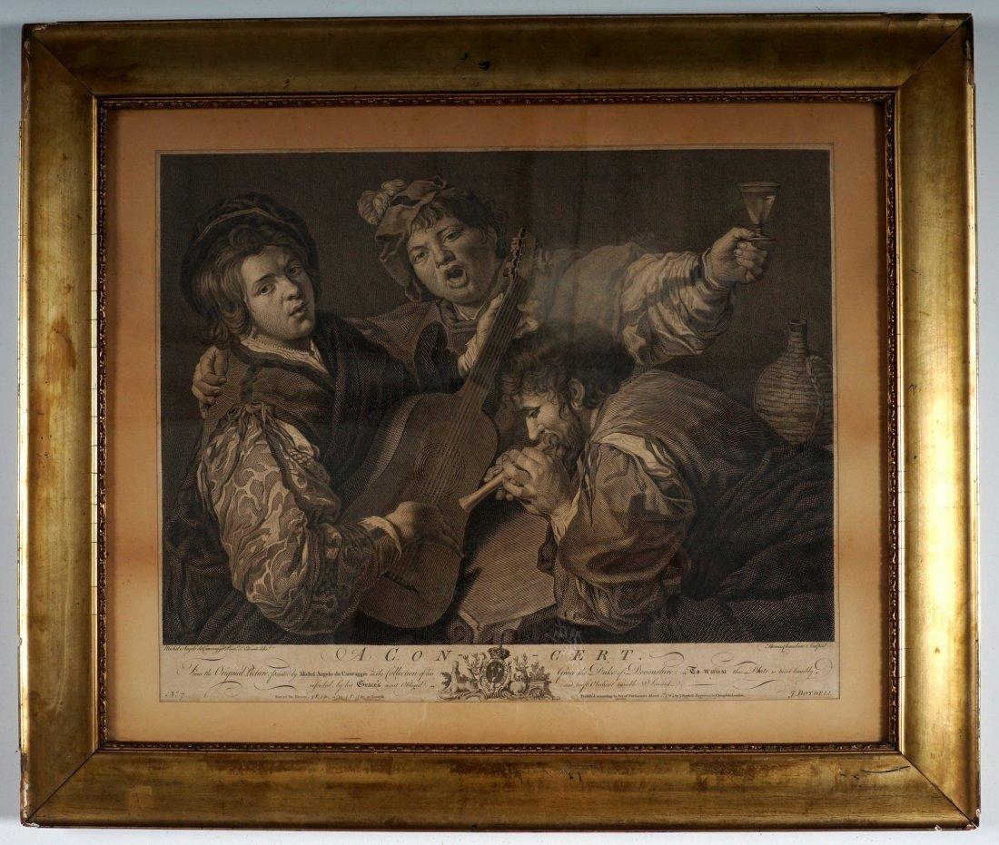 18th Century Caravaggio The Concert Engraving - 2
