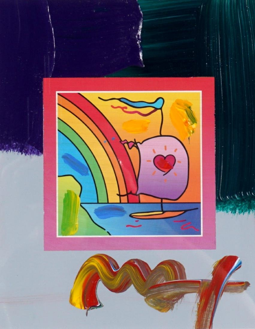 Peter Max Sailboat with Heart Mixed Media