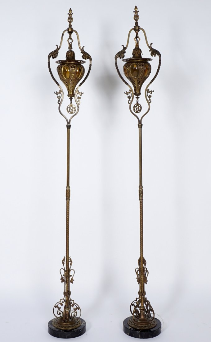 Pair Brass & Wrought Iron Floor Torchieres