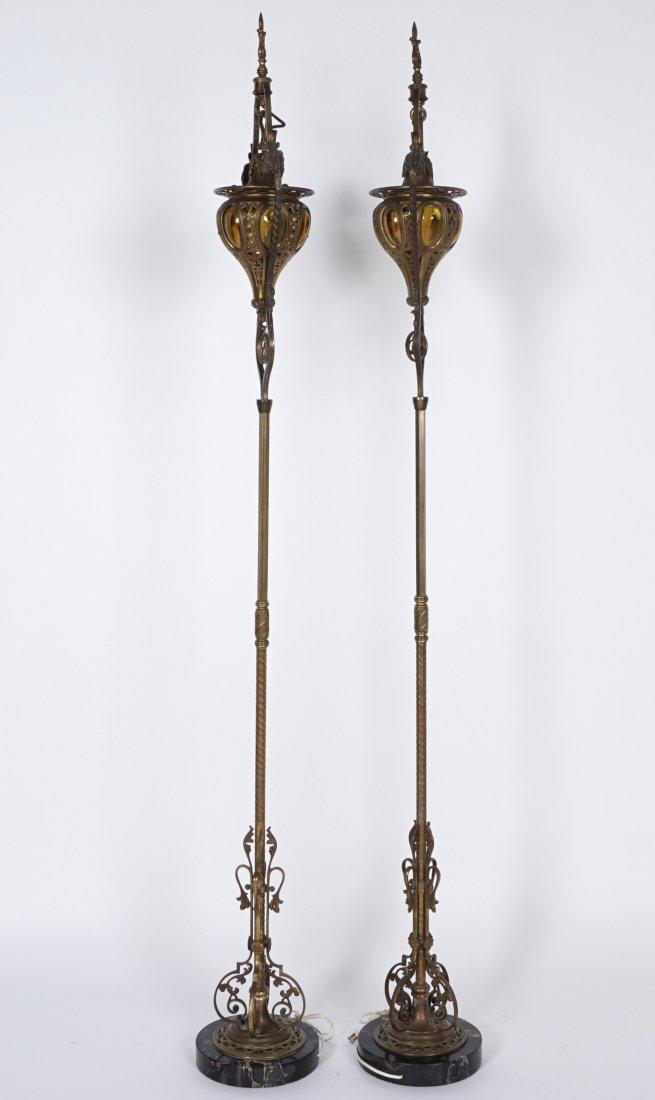 Pair Brass & Wrought Iron Floor Torchieres - 2