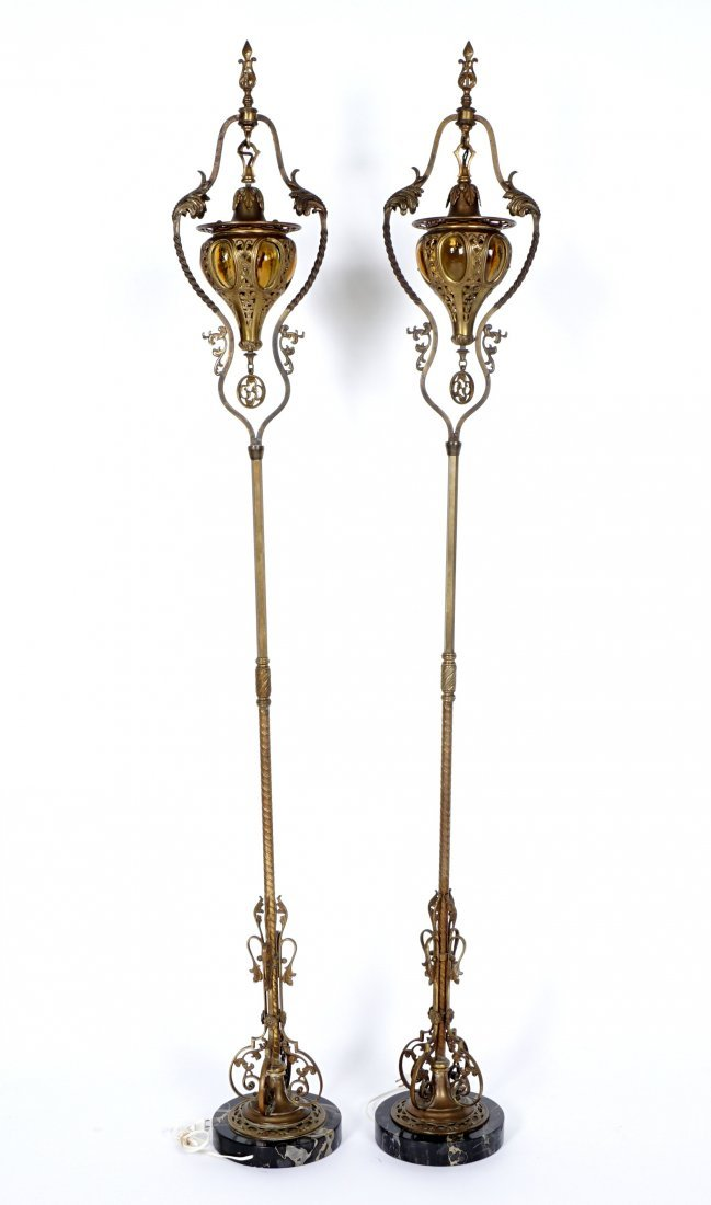 Pair Brass & Wrought Iron Floor Torchieres - 3