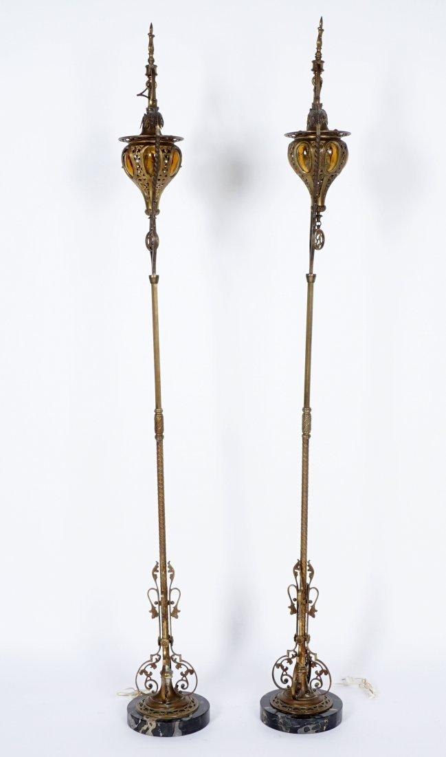 Pair Brass & Wrought Iron Floor Torchieres - 4