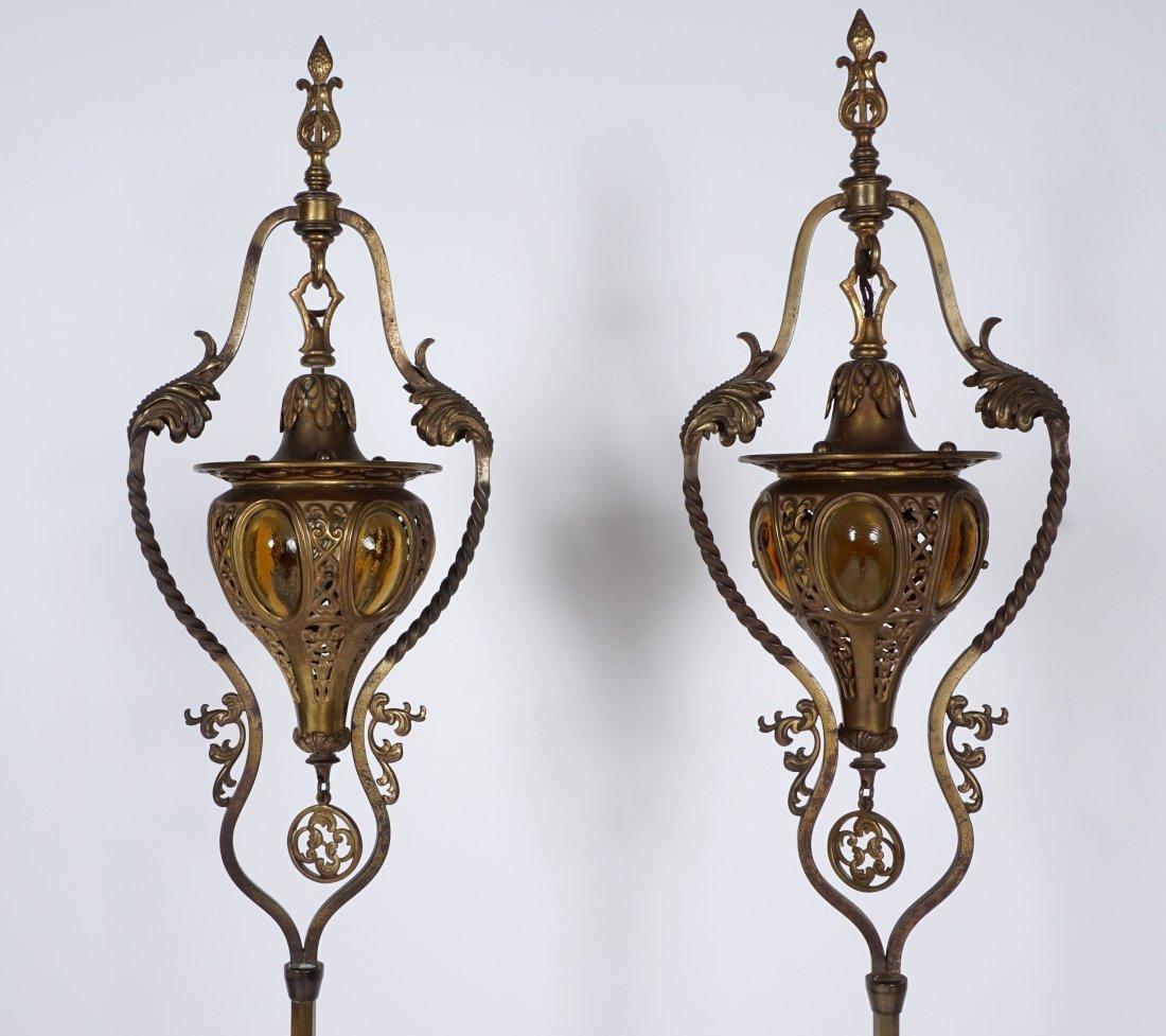 Pair Brass & Wrought Iron Floor Torchieres - 5