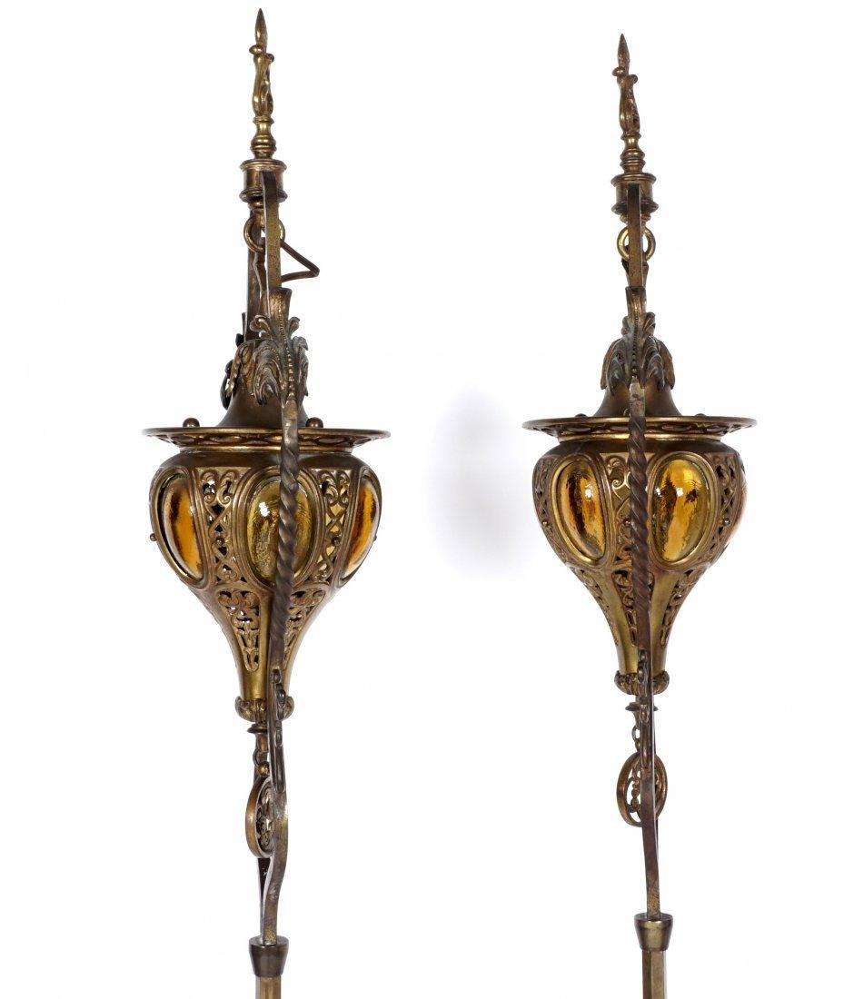 Pair Brass & Wrought Iron Floor Torchieres - 7