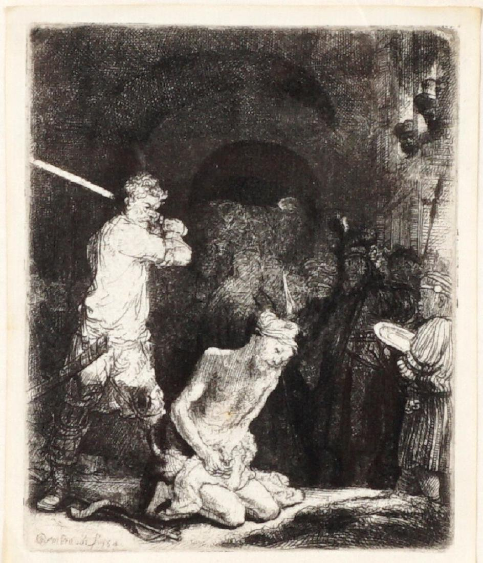 Rembrandt Beheading of John the Baptist Etching