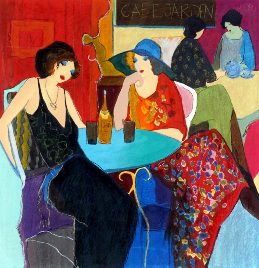 Itzchak Tarkay Lithograph of 2 Women at a Cafe
