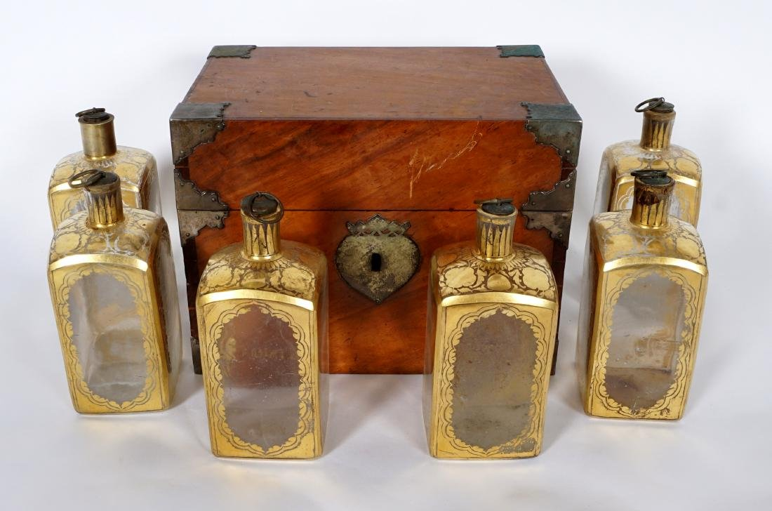 19th Century Continental Tantalus with 6 Bottles