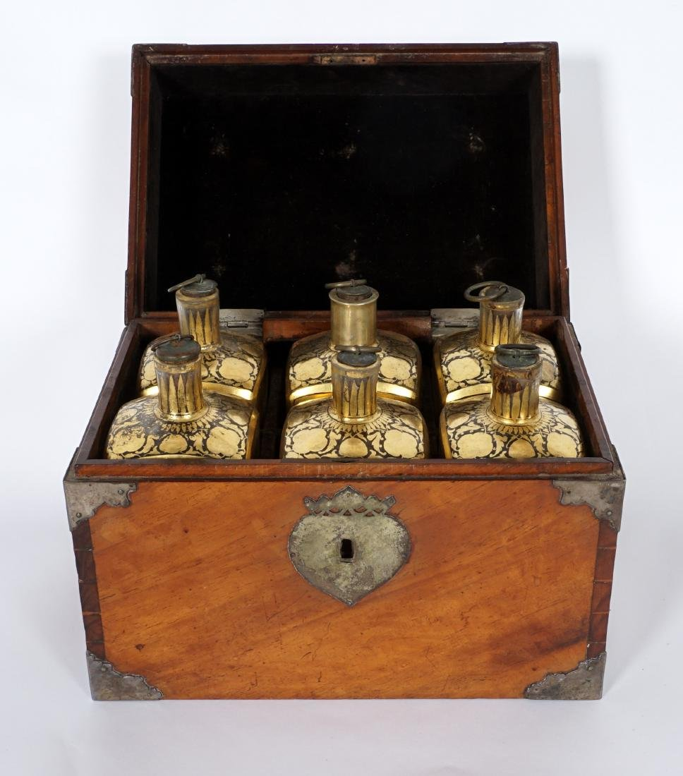 19th Century Continental Tantalus with 6 Bottles - 2