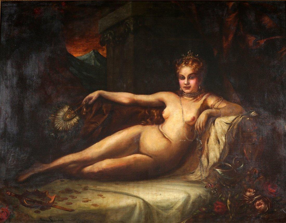 Large Vladimir Shamberk Reclining Nude Painting