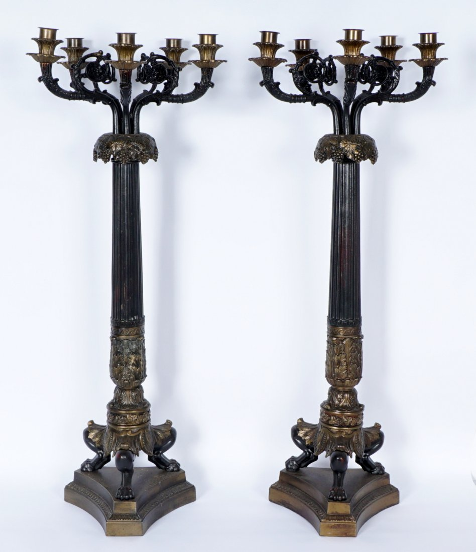 Pair Large 5 Light Patinated Bronze Candelabra