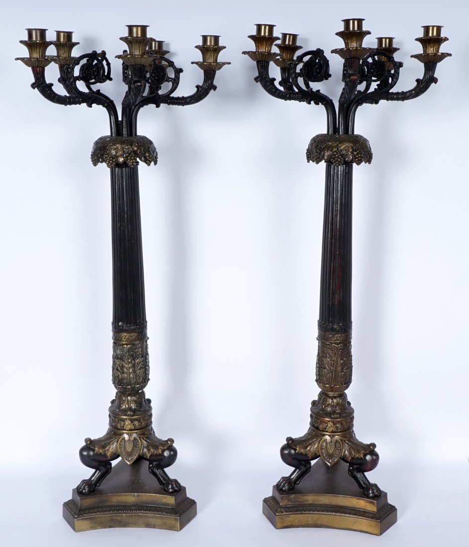 Pair Large 5 Light Patinated Bronze Candelabra - 2