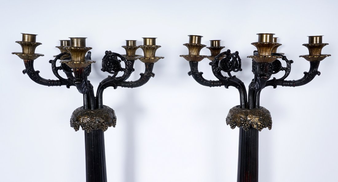 Pair Large 5 Light Patinated Bronze Candelabra - 3