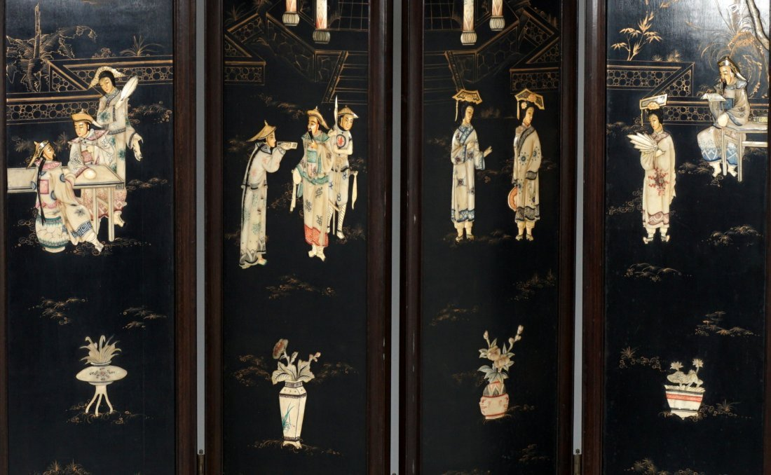 Chinese 4 Panel Inlaid Floor Screen - 4