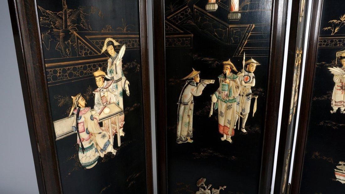Chinese 4 Panel Inlaid Floor Screen - 7
