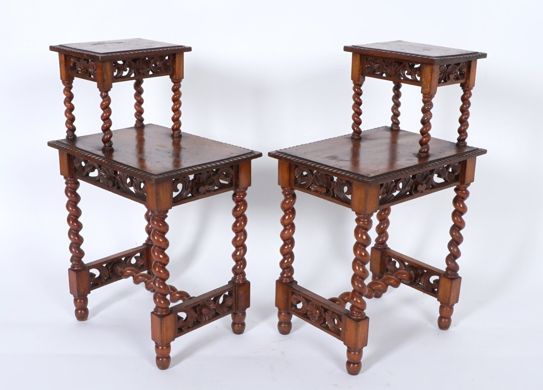 Pair Jacobean Style Barley Twist Side Tables