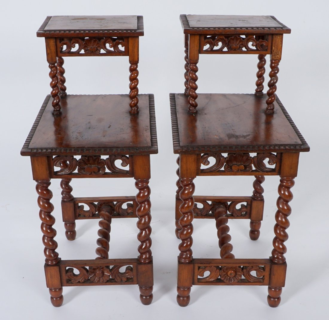 Pair Jacobean Style Barley Twist Side Tables - 2