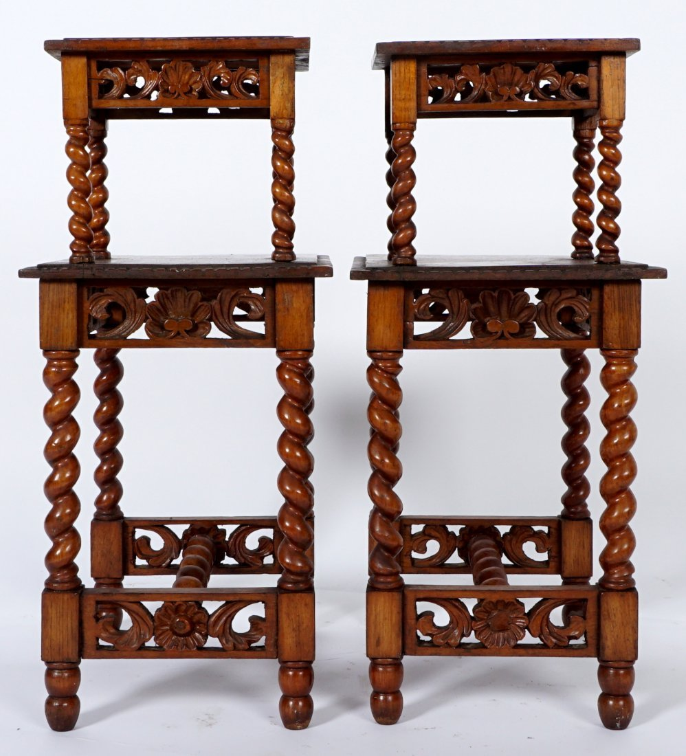 Pair Jacobean Style Barley Twist Side Tables - 3