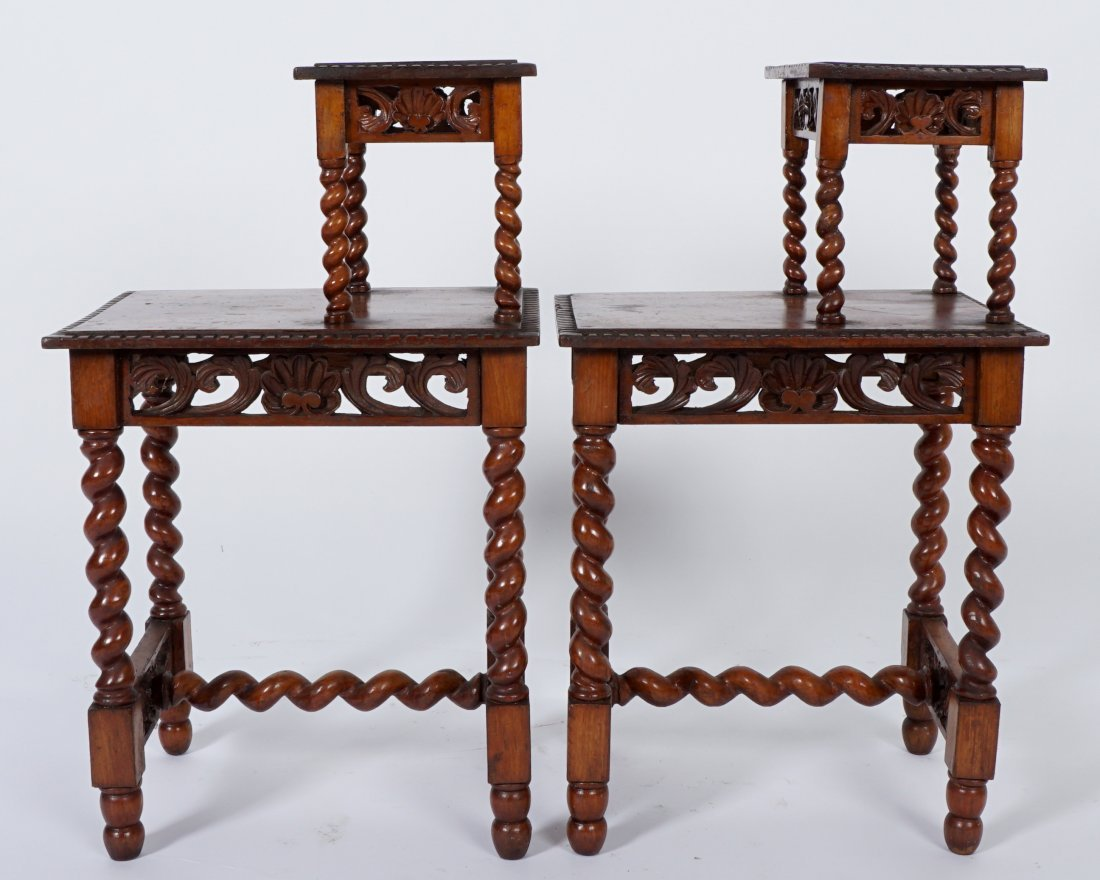 Pair Jacobean Style Barley Twist Side Tables - 4