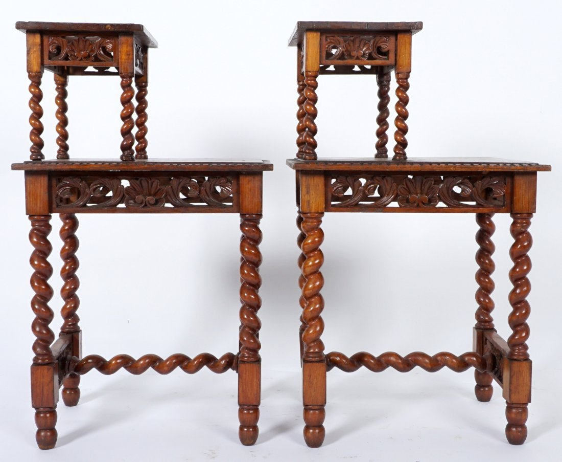 Pair Jacobean Style Barley Twist Side Tables - 5
