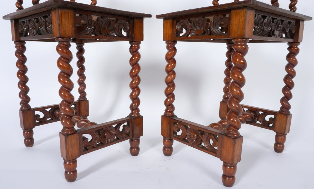 Pair Jacobean Style Barley Twist Side Tables - 6