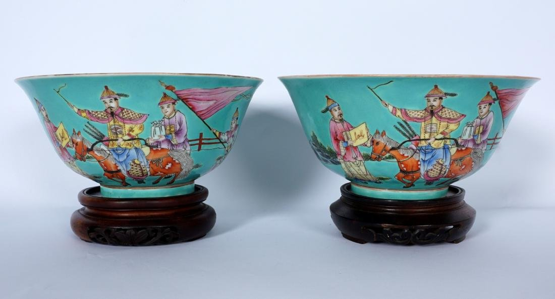 Pair Chinese Turquoise Ground Famille Bowls