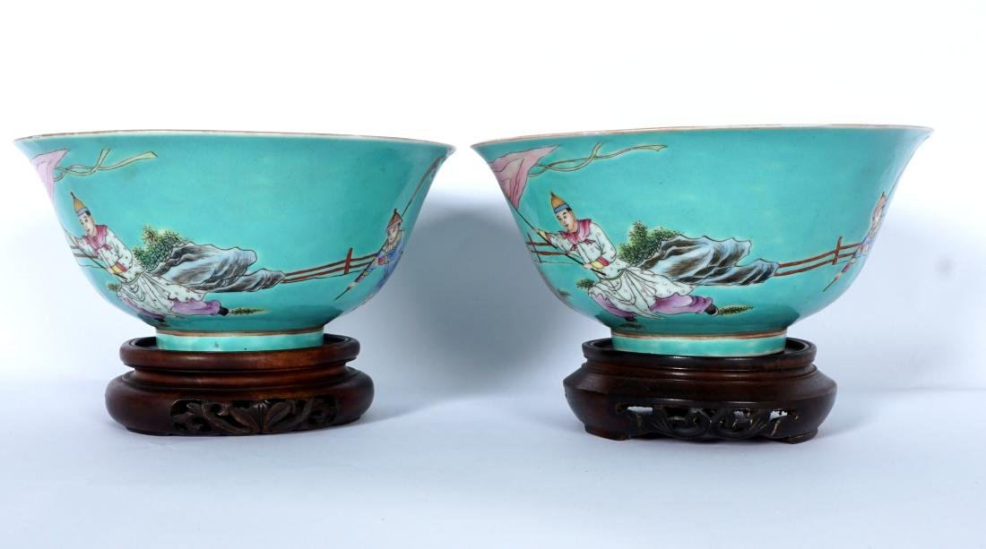 Pair Chinese Turquoise Ground Famille Bowls - 2