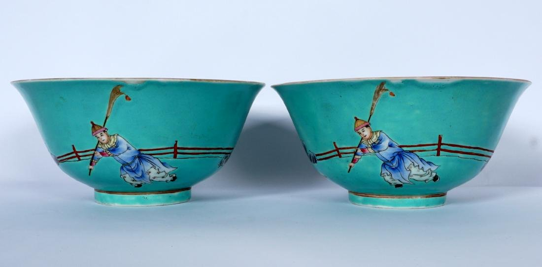 Pair Chinese Turquoise Ground Famille Bowls - 3