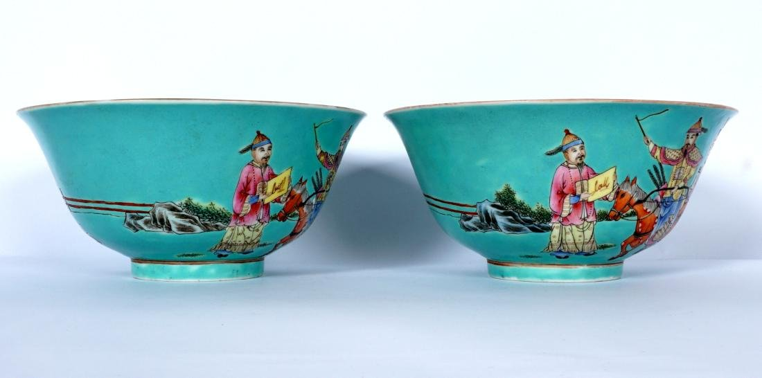 Pair Chinese Turquoise Ground Famille Bowls - 4