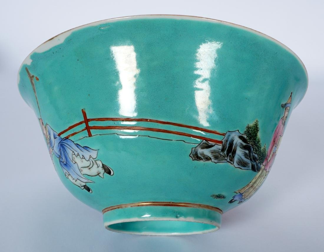 Pair Chinese Turquoise Ground Famille Bowls - 6