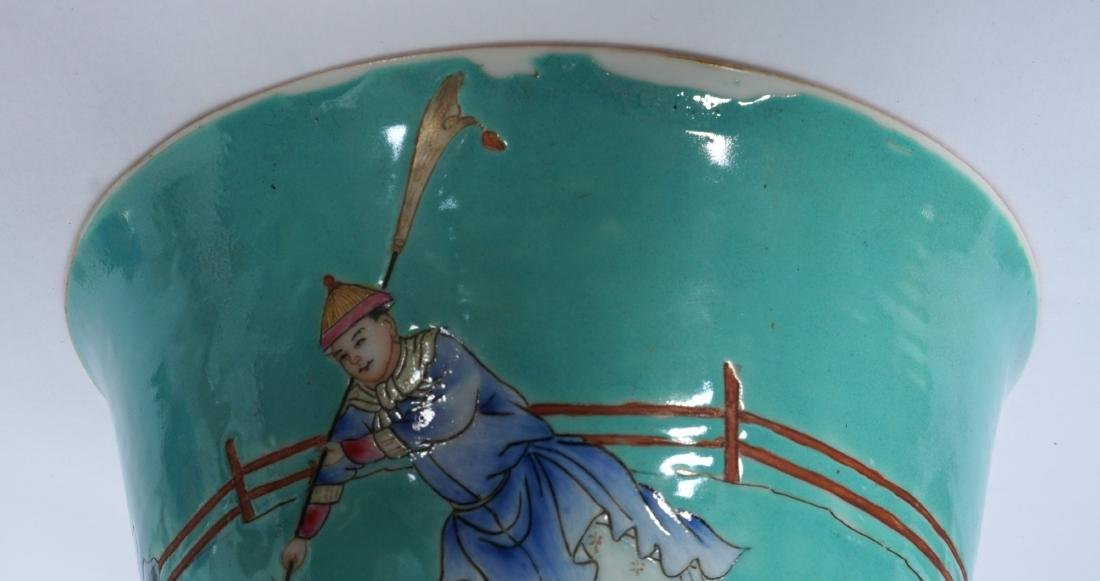 Pair Chinese Turquoise Ground Famille Bowls - 7