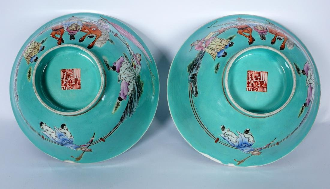 Pair Chinese Turquoise Ground Famille Bowls - 8