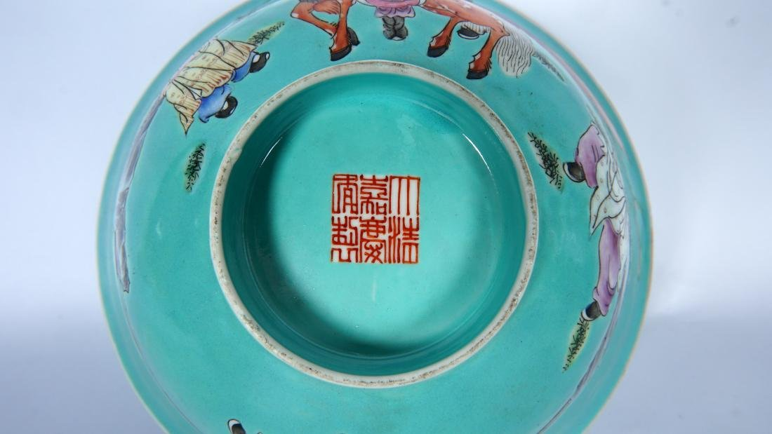 Pair Chinese Turquoise Ground Famille Bowls - 9