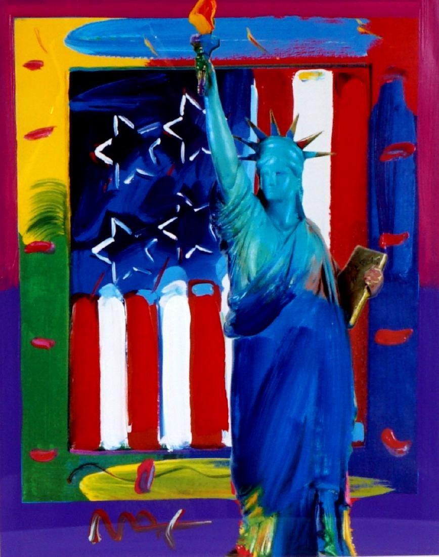 Peter Max Liberty and Flag Mixed Media