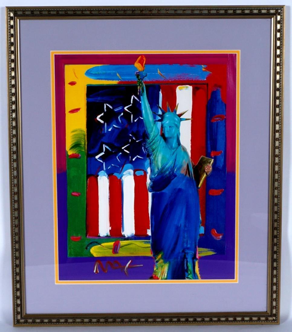 Peter Max Liberty and Flag Mixed Media - 2