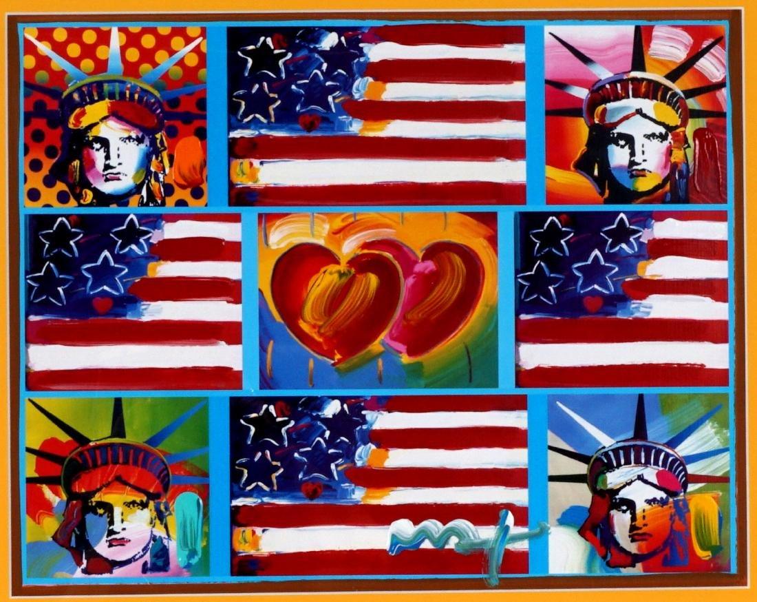 Peter Max 2 Hearts Flags Liberty Heads Mixed Media