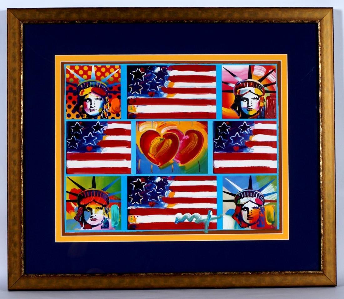 Peter Max 2 Hearts Flags Liberty Heads Mixed Media - 2